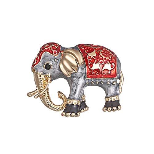 Mondora Prom Brooch Pin Animal Elephant Enamel Women's Austrian Crystal Gold-Tone Grey