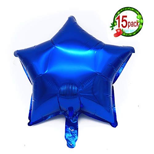 15PCS 18 Five Star Shape Foil Balloons Mylar Balloons for Graduation Party Supplies Birthday Party Wedding Decoration (Navy Blue)