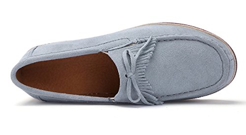 Sneakers 3 42 Rainrop Suede 35 Platform Women Fashion Comfort Grey Slip Wedges for Suede Loafers Women's Comfortable Shoes On tSqSxrU