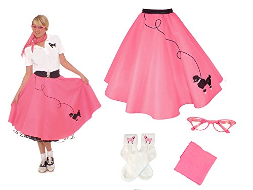 Hip Hop 50s Shop Adult 4 Piece Poodle Skirt Costume Set Hot Pink (50 Poodle Skirt Outfit)
