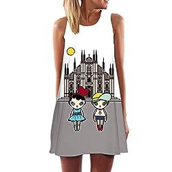 Honghu Women S Summer Casual Sleeveless Cartoon Printed Short Dress X L