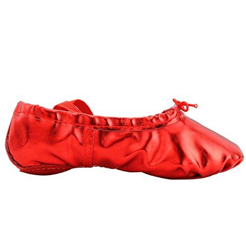Pu-Ballett-Tanz-Schuhe der Frau mit aufgeteilter weicher Sohle rot
