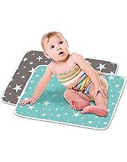 HyAdierTech 2 x deluxe unisex baby vattentät skötmatta, tryckt skötdyna, vattentät dyna för baby, mjuka urindynor absorberande filt lakan sängkuddar (typ 1)