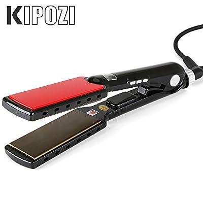KIPOZI Pro 1.5 Inch Titanium Flat Iron Hair Straightener Achieve Salon 450F Anti Frizz,Dual Voltage