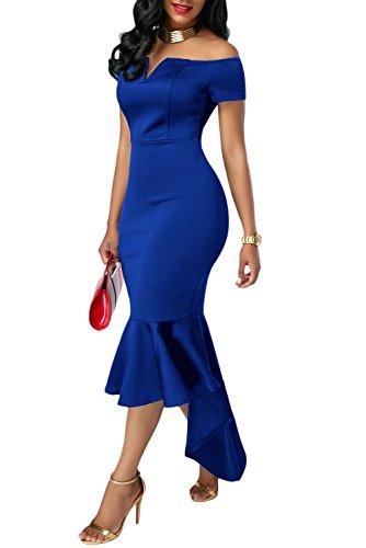 ILFtrend Frauen Weg von der Schulter Bodycon Mermaid PartyKleid Blau ...
