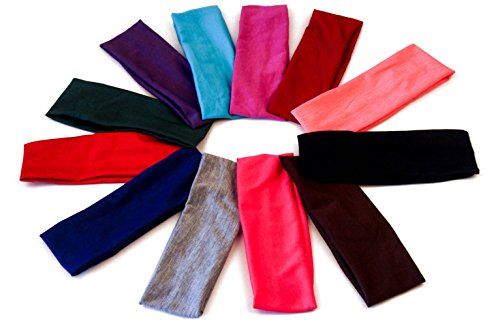 Yeshan Pack of 12 Wicking Stretchy Athletic Bandana Headbands/Head wrap/Yoga Headband/Head Scarf/Best Looking Hairband for Sports or Fashion,dark colors