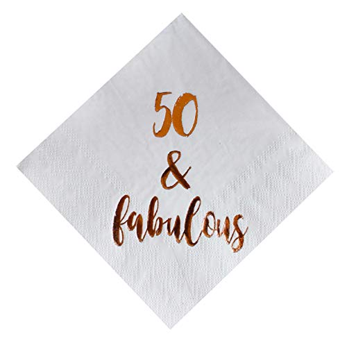50 and Fabulous Cocktail Napkins, 50-Pack 3ply White Rose Gold 50th Birthday Dinner Celebration Party Decoration Napkin