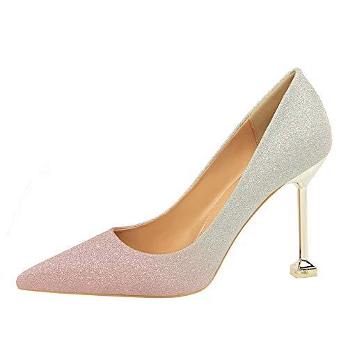 On Ufficio Viola colore Rosa Tacco A Donna Alto 37 Glitter Punta Scarpe Qiusa Eu Da Dimensione Slip wpnvfqYSx7