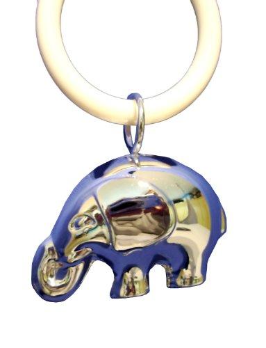 Babyrassel von Bauer mit Beißring, Rassel als Elefant, versilbert