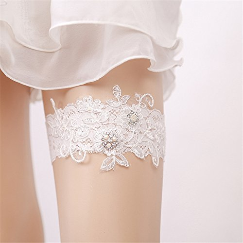 (FantasyDay White Elastic Wedding Bridal Lace Garter Flower Leaf Style Sequins Lace Wedding Garter for Bridal with Rhinestone Pearl Keepsake Toss Tradition Vintage #5)