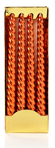 Coloured Candle - Premier One Pack of 4 Long Metallic Copper Coloured Twist Taper Candles - Home Decorations