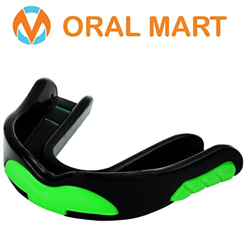 """Oral Mart """"Green Monster"""" (Strapped & Strapless) Green Football Mouth Guard – Sports Mouthguard for Football, Hockey, Lacrosse, Basketball, UFC, KickBoxing, Rugby, MMA, BJJ, Muay Thai – DiZiSports Store"""