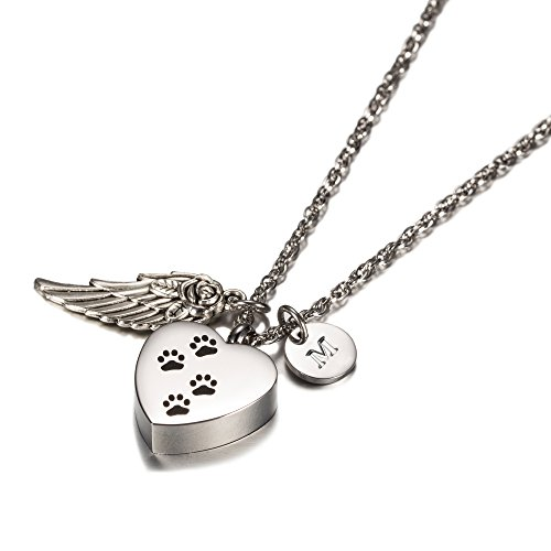 AMIST Dog Paw Print Heart with Angel Wing Charm Initial Necklace Pet Memorial Ashes Holder Keepsake by (M)