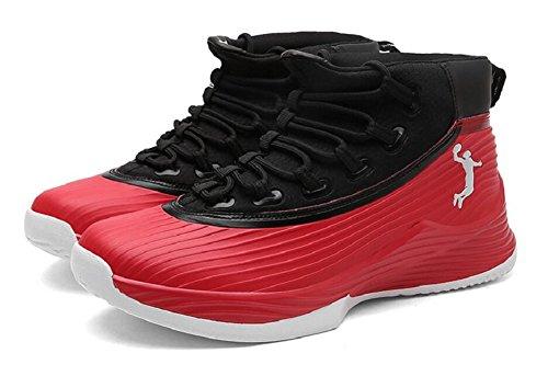 Jiye Mens Prestanda Basketskor Utomhus Andas Mode Sneakers Svart Röd