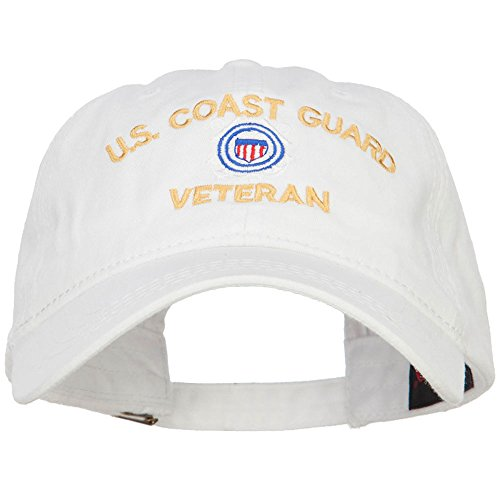 US Coast Guard Veteran Embroidered Washed Cap - White OSFM