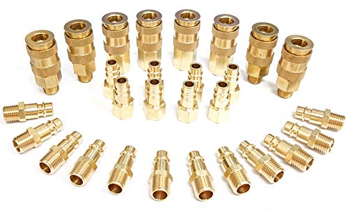 Tanya Hardware Pro High Flow Coupler & Plug Kit (28 Piece), V-Style, 1/4 in. NPT, Solid Brass Quick Connect Air Fittings…