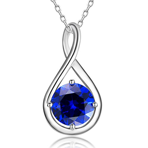 (Caperci Sterling Silver Blue Sapphire Infinity Pendant Necklace for Women, 18'')
