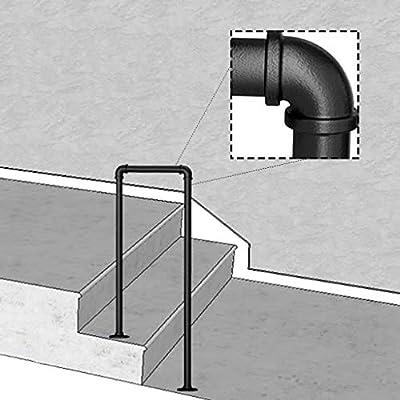 KDJJH 2 Pasos Barandas Escalera, en Forma de U Barandilla Pasamanos Tubo de Industrial Pasamanos Escalera Pasamanos para Escaleras para Escaleras Internas,Black_35cm(1.1ft): Amazon.es: Hogar