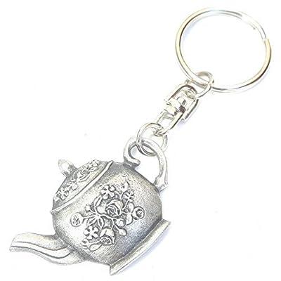 Théière Fait À La Main Avec étain anglais Porte-clés + 59mm insigne de bouton + sac-cadeau