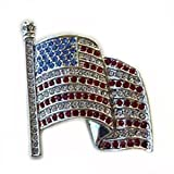 24k White Gold Plated Swarovski Crystal Patriotic American USA Flag Pin / Brooch 1 1/2 inches x 1.00 inch w/ box