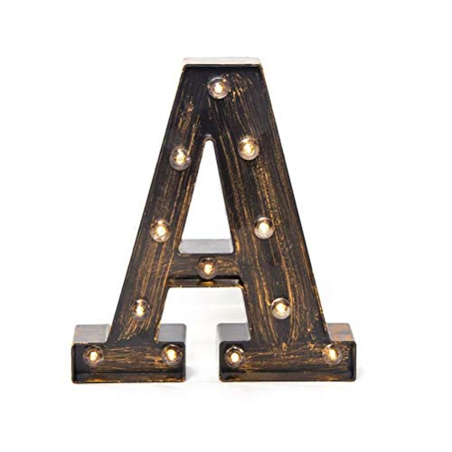 Glintee LED Marquee Letter Lights Vintage Style Light Up 26 Alphabet Letter Signs for Wedding Birthday Party Christmas Home Bar Cafe Initials Decor (A) (Letters Lighted Metal)