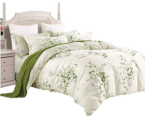 Swanson Beddings Graceful and Reversible Floral Print 3-Piece 100% Cotton Bedding Set: Duvet Cover and Two Pillow Shams (Queen) (Floral Green Comforter)