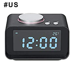 WVRGHQTG Digital Alarm Clock FM Radio Loud Alarm Clock for Heavy Sleepers with Dual Alarm,AUX in and Dual USB Charging Ports Black US