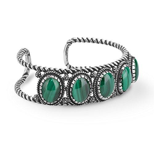 (American West Sterling Silver Green Malachite Gemstone 5-Stone Cuff Bracelet Size Medium)