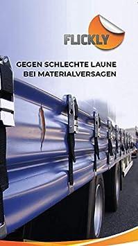 Flickly Anh/änger Planen Reparatur Pflaster 40cm x 10cm SELBSTKLEBEND Silber in vielen Farben erh/ältlich