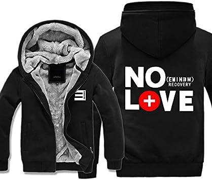 メンズフーディーフルジッパープリントエミネムリカバリーノーラブベルベットパッド入りフード付きセーターコートフリースフーディー、冬に最適