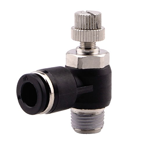 Push to Connect Fitting Valve - Air Flow Control Pneumatic Quick Connect Fittings Flow Speed Controller, Elbow, 1/4 Tube OD x 1/8 NPT