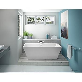 Fleurco aria calando petite 56 x 31 x 22 freestanding acrylic soaking white bathtub bca5631 for Woodbridge 54 modern bathroom freestanding bathtub