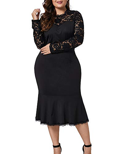 Lalagen Womens Plus Size Lace Long Sleeve Cocktail Party Mermaid Midi Dress Black - Women Plus Party Size Dresses