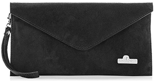 LIATALIA Italian Suede Leather Envelope Evening Clutch Bag with Cotton Lining - LEAH Black