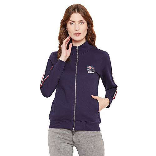 Octave Women's Casual Solid Full Sleeve Zipper Sweatshirt