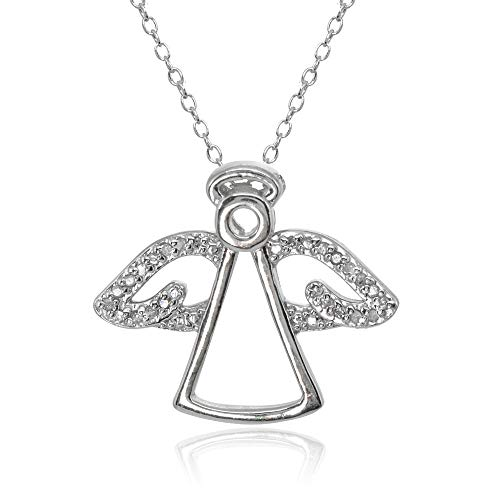 Sterling Silver Polished Angel Wings Diamond Accent Pendant Necklace, JK-I3 ()