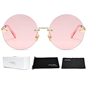SamuRita Rimless Round Sunglasses Tinted Candy Color Arrow Design Lennon Style Sunglasses(Pink/Gold)