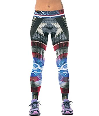 27c0b565bc381 Women Sports Gym Yoga Running Fitness Captain America Leggings Pants  Athletic Trousers: Amazon.co.uk: Clothing