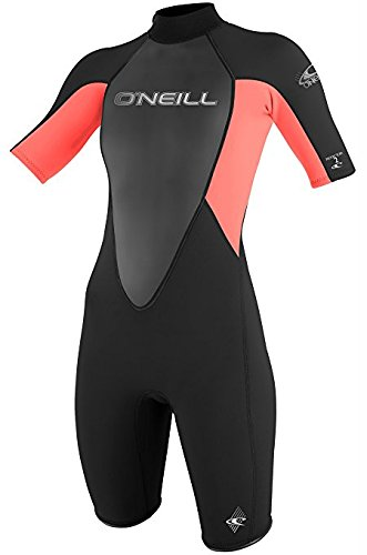 O'Neill Women's Wetsuits 2mm Reactor Short Sleeve Spring Suit, Black Coral, Size 6 (Wetsuit Spring Women)