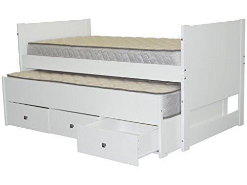 Bedz King Captains Twin Bed with Twin Trundle and 3 Drawers, White