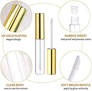 Lurrose 10pcs 10ml Lip Gloss Tubes Bulk with Wand Empty Plastic Lipstick  Bottles Lip Gloss Container Cosmetic Supplies for Lipstick Samples DIY  (Golden): Buy Online at Best Price in UAE - Amazon.ae