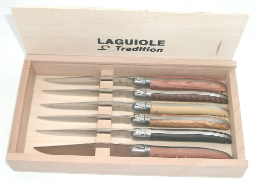 SCIP Boxed Laguiole Stainless Knives with Assorted Wood H...