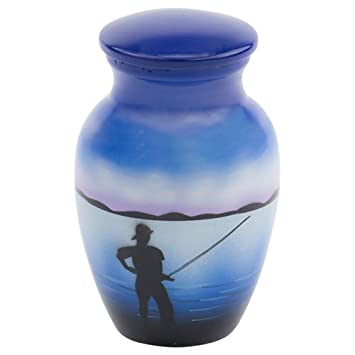 Silverlight Urns Fishing Keepsake Urn for Ashes, Mini Urn – Not Full Sized, 2.75 Inches High