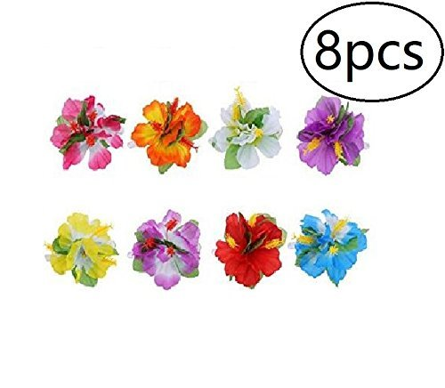 8pcs Hawaiian Luau Flower Lei Hair Clip Set for Luau Tropical Hawaiian Party Favors