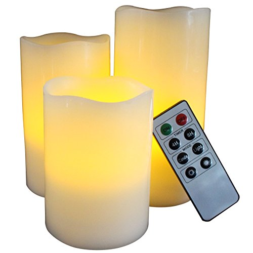 FLAMELESS CANDLES WITH TIMER REMOTE CONTROL, Unscented Flickering Battery Operated Electric Candle for Home Decor, Weddings, Halloween Parties and Awesome Gifts