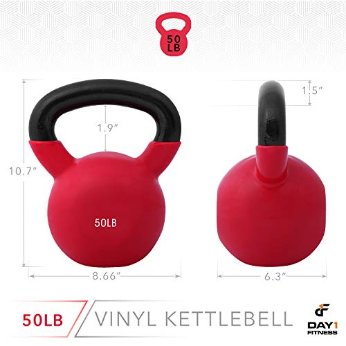 Day 1 Fitness Kettlebell Weights Vinyl Coated Iron 50 Pounds - Coated for Floor and Equipment Protection, Noise Reduction - Free Weights for Ballistic, Core, Weight Training by Day 1 Fitness (Image #2)