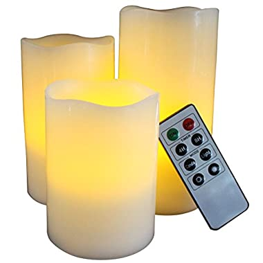 LED Lytes Battery Operated Flameless Unscented Ivory Wax & Amber Yellow Flame Candles with Remote, 3 Pack