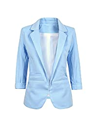 Lrady Women's Fashion Cotton Rolled Up 3/4 Sleeve Office Blazer Jacket Suits