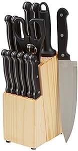 Amazon.com: AmazonBasics, juego de 14 cuchillos con hojas de ...