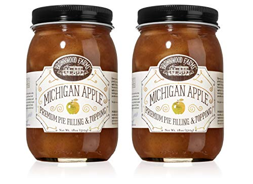 Brownwood Farms Michigan Apple Filling - 2/18 oz Best Premium Pie Fillings Toppings- Made in USA Gluten-free - W/ Great Lakes apple- Chefs Baking Topping- Apple pie - Ice cream - Yogurt (BFAP2P)